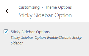 Sticky Sidebar Option Happy Blog